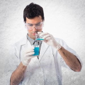 Scientist analyzing a test-tube
